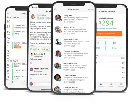 Various mobile screenshots of Paylocity's HCM mobile app and features.