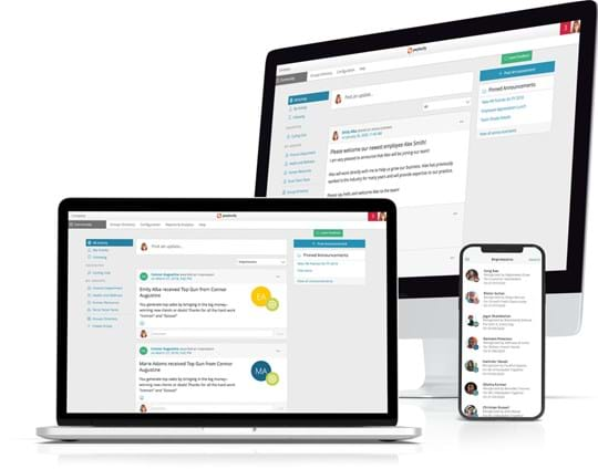 Product screenshots of Paylocity's Employee Engagement Tools on desktop, and laptop.