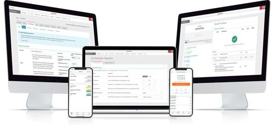 Screenshots of Paylocity's Payroll Software on desktop, tablet and mobile devices.