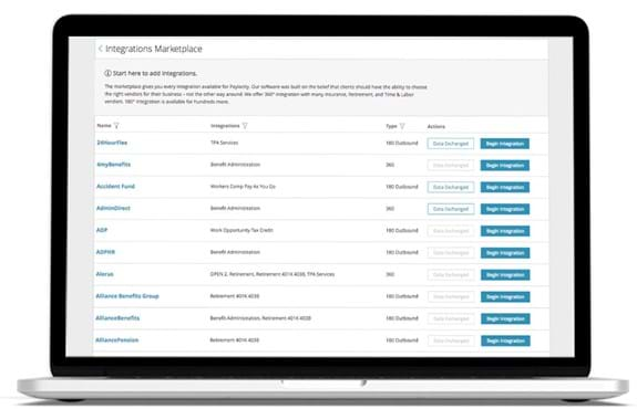 Paylocity's payroll and HR system integration platform on desktop.