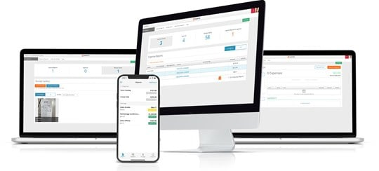 Paylocity's expense management software on desktop, mobile, and laptop.
