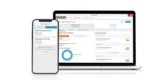 Paylocity's Employee Benefits Management platform on laptop and mobile